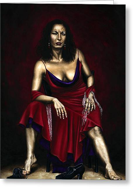 Red Dress Paintings Greeting Cards - Portrait of a Dancer Greeting Card by Richard Young