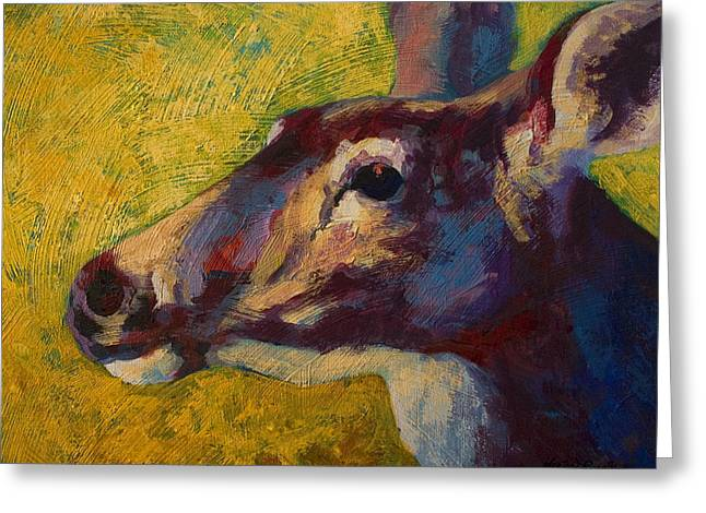 Portrait Of A Doe Greeting Card by Marion Rose