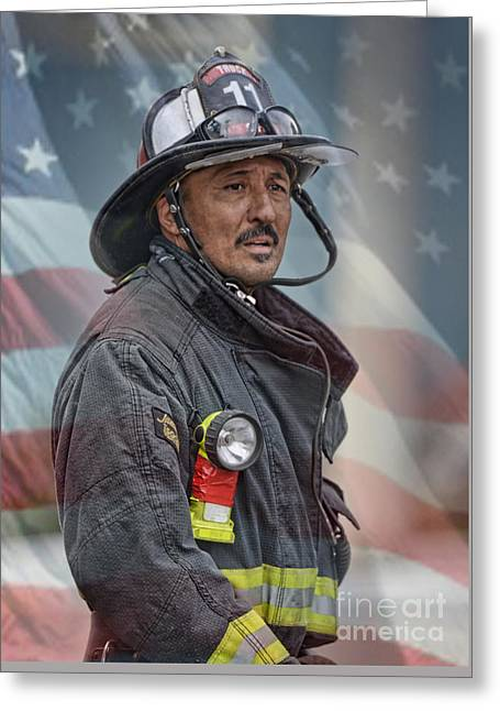 Straps Greeting Cards - Portrait of a Fire Fighter II Greeting Card by Jim Fitzpatrick