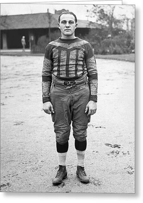 1910s Portrait Greeting Cards - Portrait Of A Football Player Greeting Card by Underwood Archives