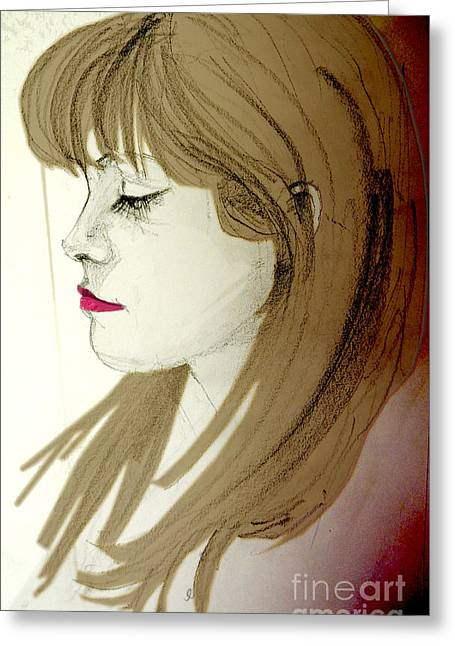 Portrait Of A Lovely Young Woman Greeting Card by Greta Corens