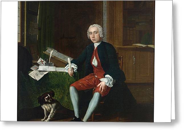 Full-length Portrait Greeting Cards - Portrait Of A Gentleman With His Dog In An Elegant Interior Greeting Card by Celestial Images