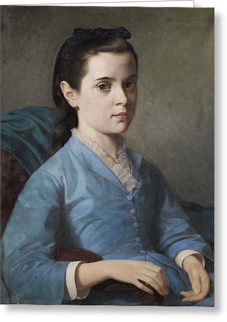 1874 Drawings Greeting Cards - Portrait of a Girl Greeting Card by Alexandre-Louis Leloir