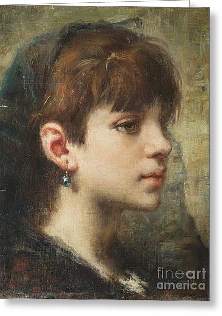 Person Greeting Cards - Portrait of a Girl Greeting Card by Alexei Harlamoff