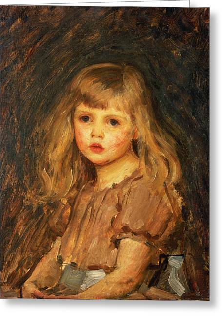 Little Girl Greeting Cards - Portrait of a Girl Greeting Card by John William Waterhouse