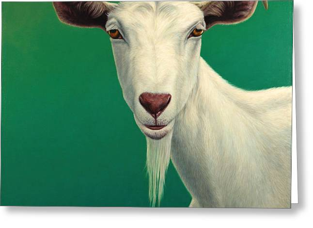 Portrait of a Goat Greeting Card by James W Johnson