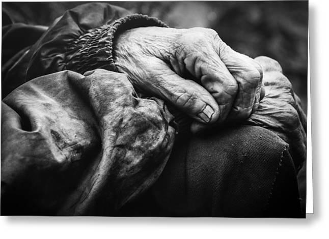 Black Man Pyrography Greeting Cards - Portrait of a grandmother Mara Greeting Card by Stefan  Kamenov