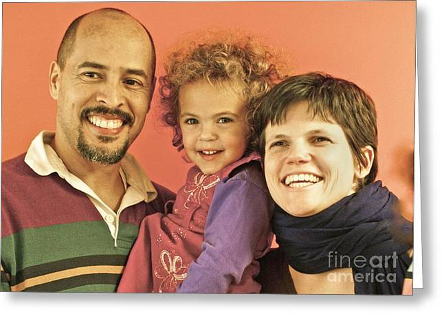Biracial Greeting Cards - Portrait Of A Happy Family Greeting Card by Blair Seitz