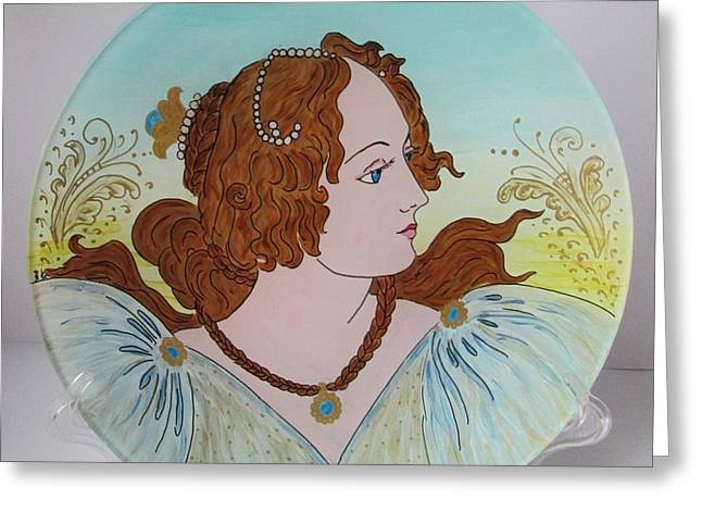 Lady Glass Art Greeting Cards - Portrait of a Lady Greeting Card by ALD Artwork