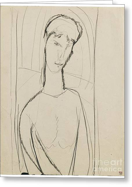 Modigliani; Amedeo (1884-1920) Greeting Cards - Portrait Of A Lady Greeting Card by Amedeo Modigliani