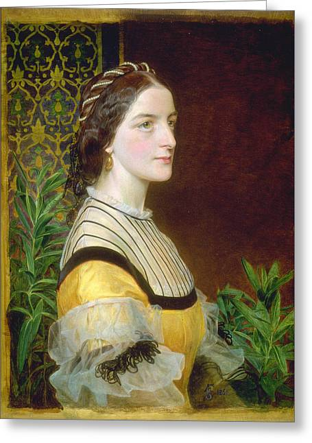 Portrait Of A Lady Greeting Card by Frederick Sandys