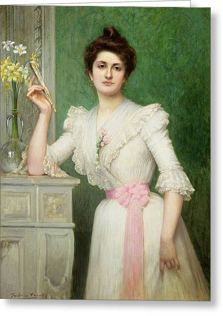 Daffodils Greeting Cards - Portrait of a lady holding a fan Greeting Card by Jules-Charles Aviat