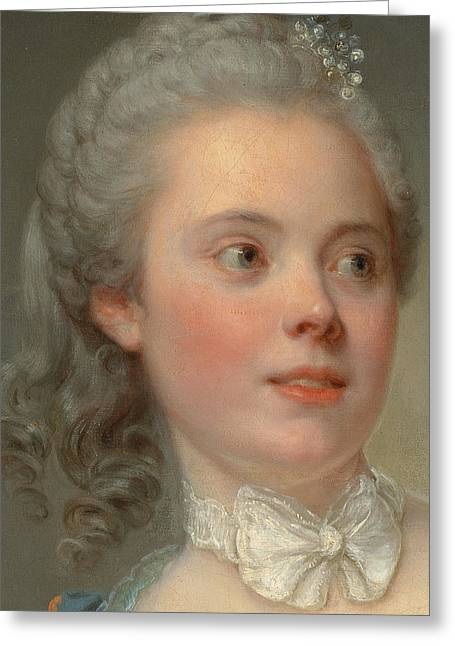 Bowtie Greeting Cards - Portrait of a lady Greeting Card by Jean Baptiste Greuze