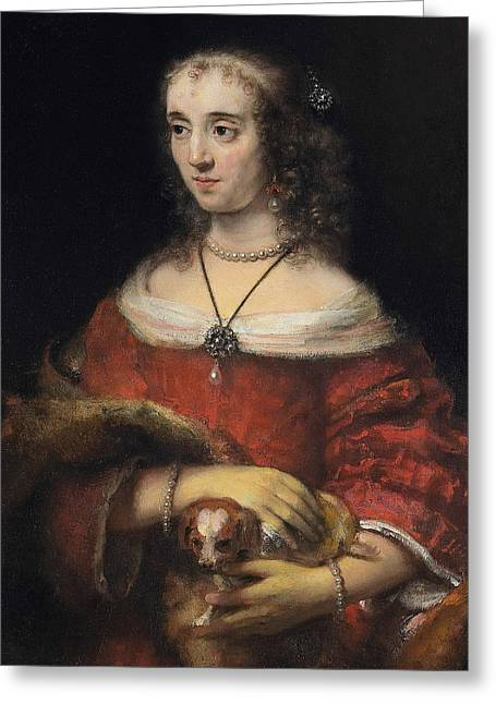 Portrait Of A Lady With A Lap Dog Greeting Card by Rembrandt