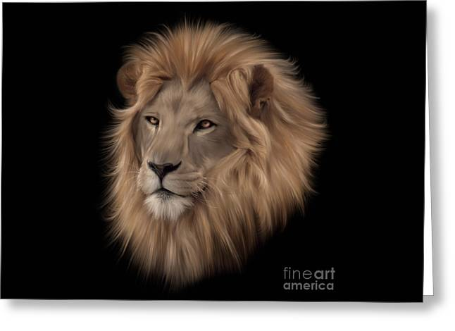 Lions Greeting Cards - Portrait of a Lion Greeting Card by Lynn Jackson