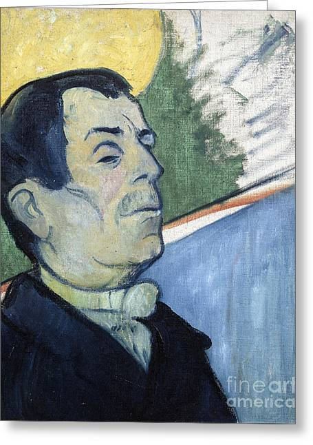 Vintage Painter Greeting Cards - Portrait of a man Greeting Card by Gauguin