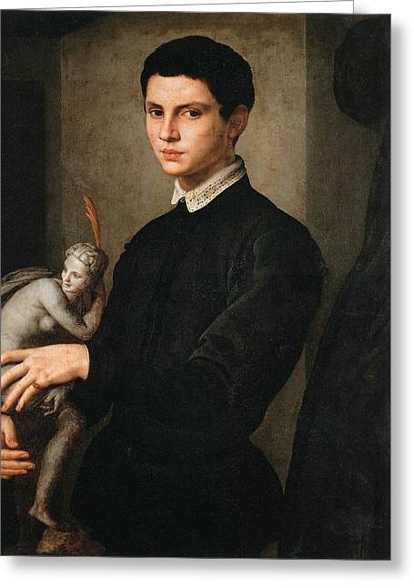 Portrait Of A Young Boy Greeting Cards - Portrait of a Man Holding a Statuette Greeting Card by Celestial Images