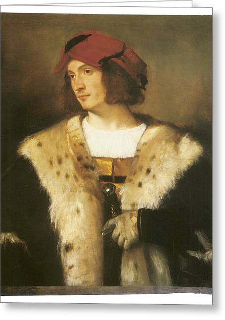 Titian Paintings Greeting Cards - Portrait of a Man in a Red Cap Greeting Card by Titian