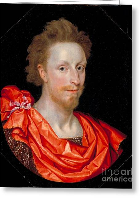 Portrait Of A Man In Classical Dress Greeting Card by MotionAge Designs