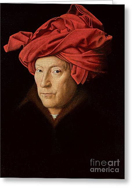 Dutch Masters Greeting Cards - Portrait of a Man Greeting Card by Jan Van Eyck
