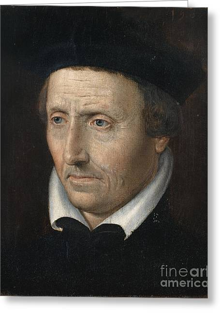 White Paintings Greeting Cards - Portrait Of A Man With White Collar Greeting Card by French-flemish School