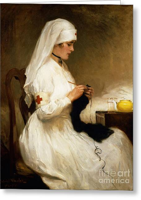 White Greeting Cards - Portrait of a Nurse from the Red Cross Greeting Card by Gabriel Emile Niscolet