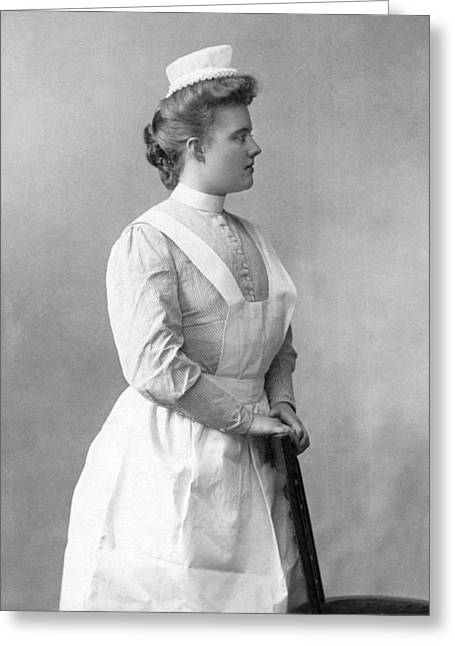 Portrait Of A Nurse Greeting Card by Underwood Archives
