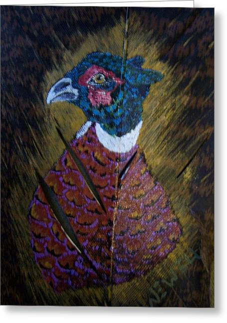 Feathers Sculptures Greeting Cards - Portrait of a Ringneck Greeting Card by Chris Newell