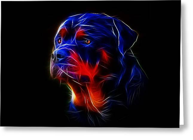 Guard Dog Greeting Cards - Portrait of Rottweiler Greeting Card by Alexey Bazhan