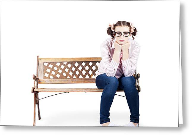Portrait Of A Sad Lonely Woman Alone On Park Bench Greeting Card by Jorgo Photography - Wall Art Gallery