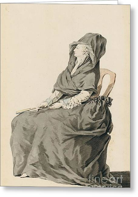 French School; (18th Century) Greeting Cards - Portrait Of A Seated Woman Greeting Card by MotionAge Designs