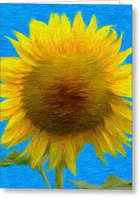 Yellow Flower Greeting Cards - Portrait of a Sunflower Greeting Card by Jeff Kolker