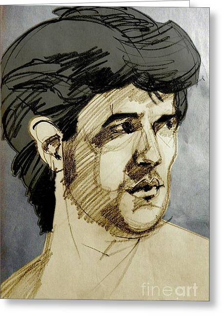 Portrait Of A Swarthy Young Man Greeting Card by Greta Corens
