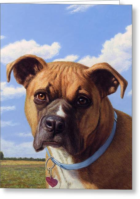 Boxer Greeting Cards - Portrait of a Sweet Boxer Greeting Card by James W Johnson