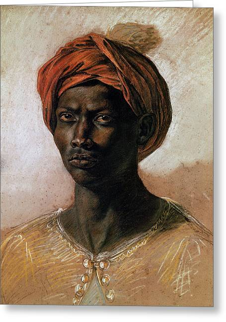 Black Man Paintings Greeting Cards - Portrait of a Turk in a Turban Greeting Card by Ferdinand Victor Eugene Delacroix