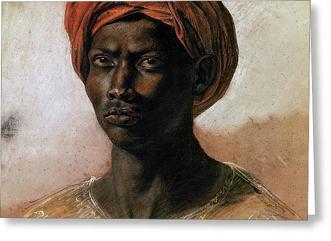 Portrait of a Turk in a Turban Greeting Card by Ferdinand Victor Eugene Delacroix