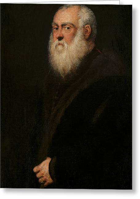 Portrait Of A White-bearded Man  Greeting Card by Tintoretto