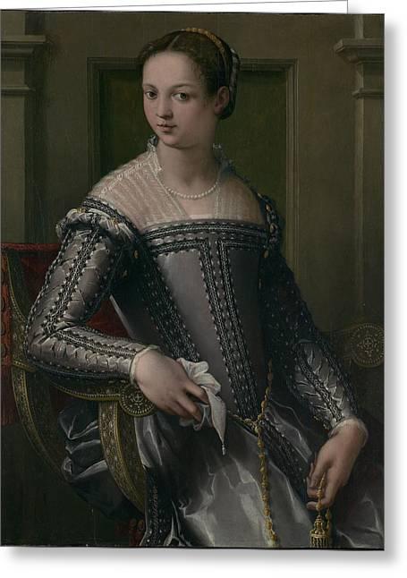 Bronzino Agnolo Greeting Cards - Portrait of a Woman Greeting Card by Agnolo di Cosimo di Mariano Bronzino