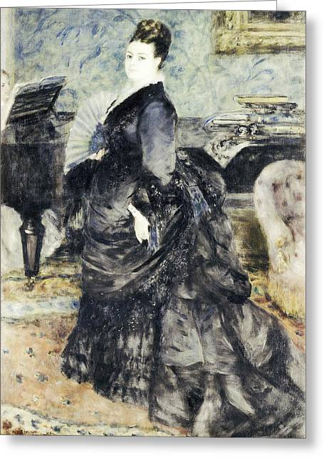 Renoir Greeting Cards - Portrait of a Woman called Mme Georges Hartmann Greeting Card by Auguste Renoir
