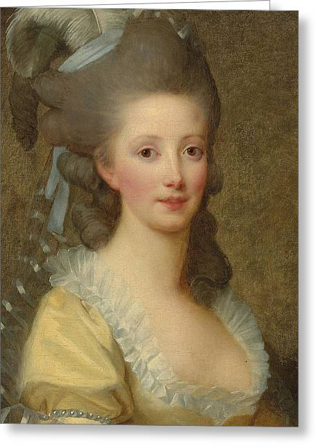 White Dress Greeting Cards - Portrait of a woman Greeting Card by Elisabeth Louise Vigee-Lebrun
