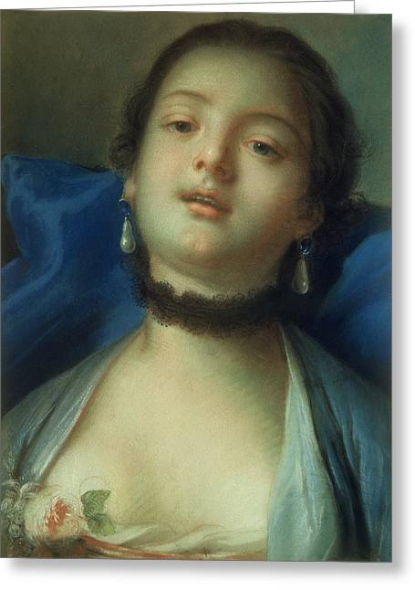 Boucher; Francois (1703-70) Greeting Cards - Portrait of a Woman  Greeting Card by Francois Boucher