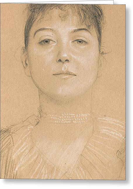 Pearls Drawings Greeting Cards - Portrait of a Woman Greeting Card by Gustav Klimt
