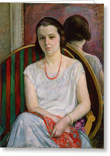 Bracelet Greeting Cards - Portrait of a Woman Greeting Card by Henri Lebasque