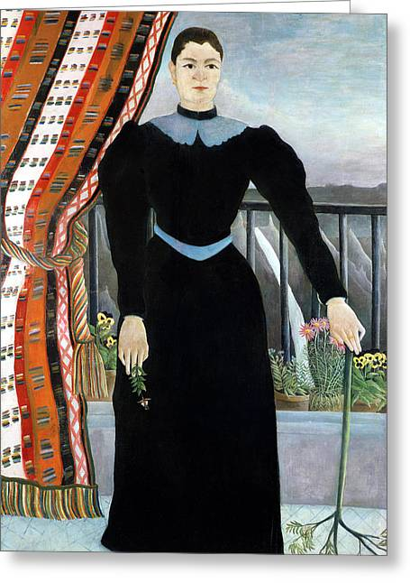 Full-length Portrait Paintings Greeting Cards - Portrait of a Woman Greeting Card by Henri Rousseau