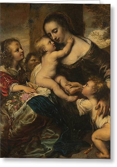 Carita Greeting Cards - Portrait of a woman with four children depicted as Caritas Greeting Card by Juergen Ovens