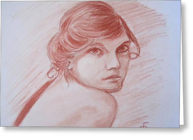 Conte Pencil Drawings Greeting Cards - Portrait of a Young Edwardian Greeting Card by Richard F Barber