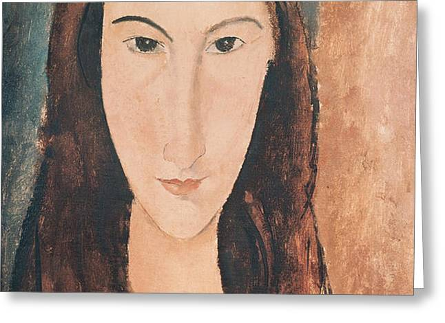 Portrait of a Young Girl Greeting Card by Amedeo Modigliani