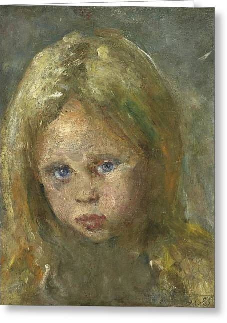 Portrait Of A Young Girl Greeting Card by Celestial Images