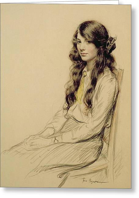 Young Drawings Greeting Cards - Portrait of a Young Girl Greeting Card by Frederick Pegram