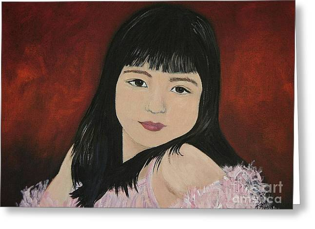 Girls In Pink Greeting Cards - Portrait of a Young Girl Greeting Card by Reb Frost